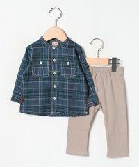 チェックシャツ&リブパンツセット