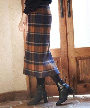 【WEB限定:着丈が選べる】ビッグチェックアイラインスカート