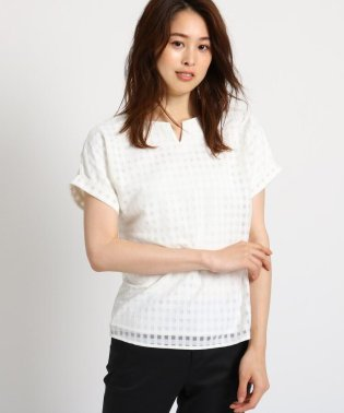 【洗える】チェックレースキーネックシャツ