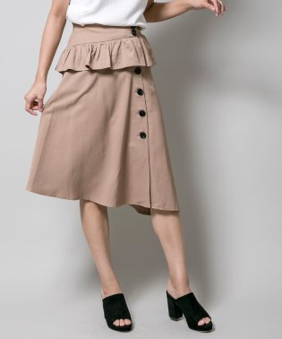 ぺプラムベルト付フレアスカート