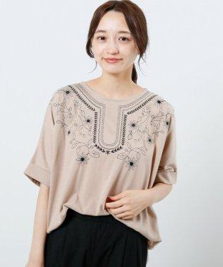 エスニック草花刺繍裾タックドルマンTシャツ