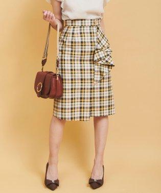 ドレープチェックラップタイトスカート