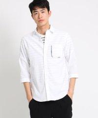 コットンデザインポケット7分袖シャツ