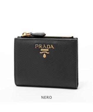 1ML023 QWA レザー 二つ折り財布 ミニ財布 豆財布 ロゴ金具プレート カラー3色 レディース