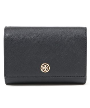 46408 レザー 二つ折り財布 ミディアム スモール財布 018/BLACK-ROYALNAVY レディース