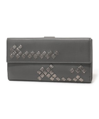 134075 VAXS1 イントレチャート刺繍 レザー 二つ折り長財布 8495/DARK-GREY レディース