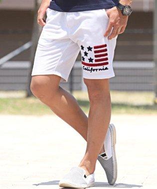 ミニ裏毛星条旗サガラ刺繍ショートパンツ/ショートパンツ メンズ サガラ 刺繍 スウェット 星条旗