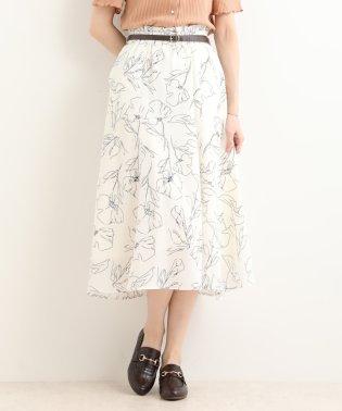 ワントーンフラワースカート