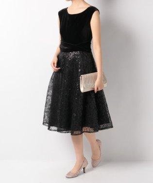 ベロア*刺繍切替ドレス