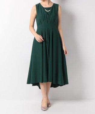 ネックレス付バックサテンジョーゼットセミロングドレス