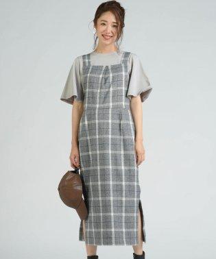 【socolla】先染めチェックサイドスリットジャンパースカート