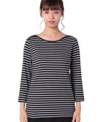 袖ロゴ刺繍ボーダーボートネック7分袖Tシャツ・カットソー
