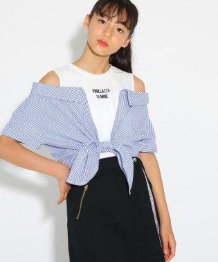 裾結びシャツレイヤード トップス