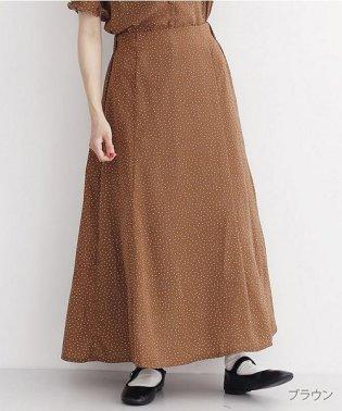 エステルポプリンドットプリントマキシスカート