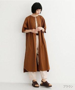 【IKYU】配色ステッチノーカラーシャツワンピース