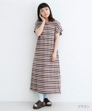 【IKYU】マルチボーダーフレンチスリーブTシャツワンピース