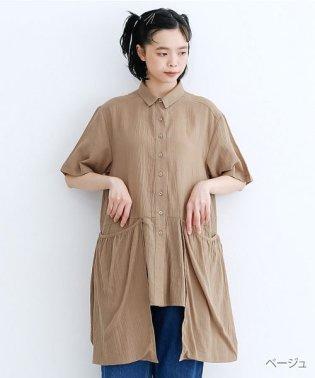 【IKYU】バックベンツギャザーポケットシャツ