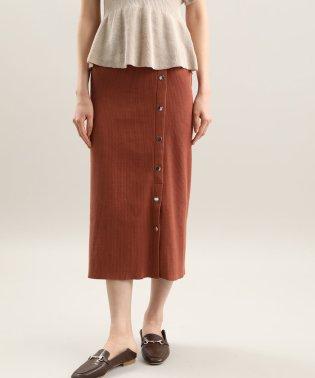 釦デザインテレコスカート