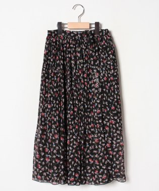 花柄シフォンプリーツロングスカート
