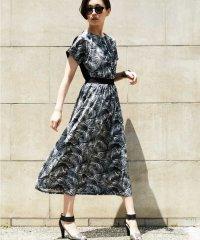 【洗濯機OK】ボタニカルリーフドレス