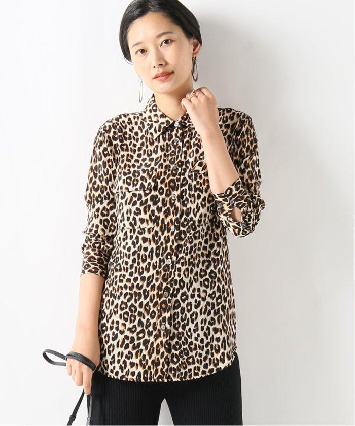 【EQUIPMENT/エキプモン】Leopard SLIM SIGNATURE SH:シャツ