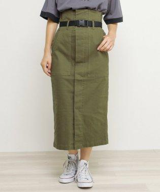 ベルト付ストレッチツイルナロースカート