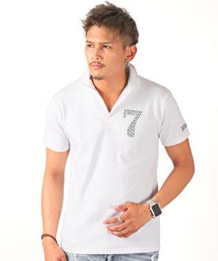 ラインストーンナンバリングイタリアンカラー半袖スキッパーポロシャツ/ポロシャツ メンズ 半袖 イタリアンカラー ラインストーン