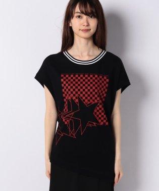 ネックボーダーアシメプリントフレンチTシャツ・カットソー