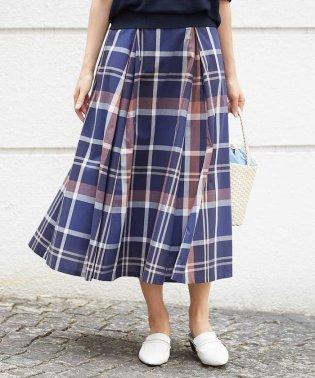 【セットアップ対応/洗える】ビッグチェックタックフレアスカート