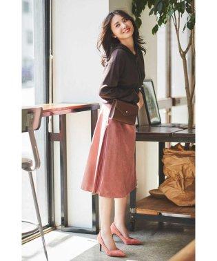 |美人百花 10月号掲載|◆フェイクスエードサイドプリーツスカート