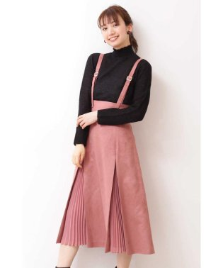 ◆フェイクスエードプリーツミックスジャンパースカート