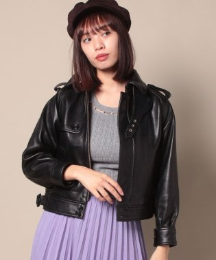 vintage leather trench blouson