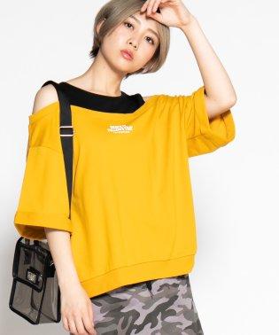 WEGO/ロールアップオフショルロゴTシャツ