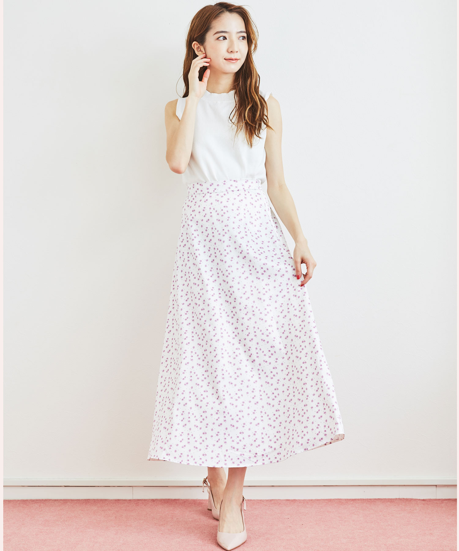 【セットアップ対応商品】ミニフラワーロングスカート
