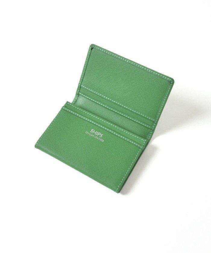 (SHIPS MEN/シップス メン)SHIPS:【SAFFIANO LEATHER】イタリアンレザー カードケース (名刺入れ)/メンズ グリーン