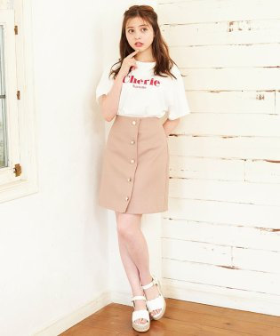 アソート釦変わり織り台形/スカート
