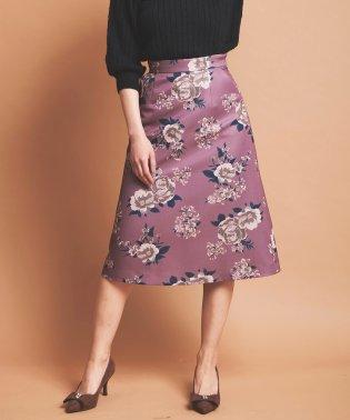 【美人百花9月号掲載】ヘビーサテン大花柄フレアスカート
