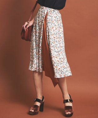 小花柄サテン配色切替スカート
