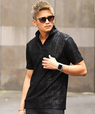 パイソン柄ワイヤーカラー半袖スキッパーポロシャツ/ポロシャツ メンズ 半袖 イタリアンカラー パイソン