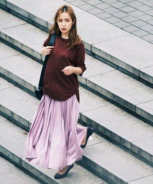 Demi-Luxe BEAMS / サテン プリーツスカート