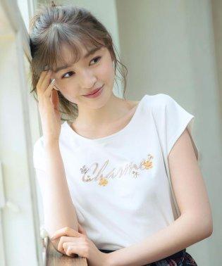 フラワーモチーフロゴTシャツ