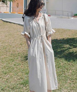 一枚でお洒落シルエットが綺麗なギャザーワンピース/ワンピース/韓国ファッション/春/夏
