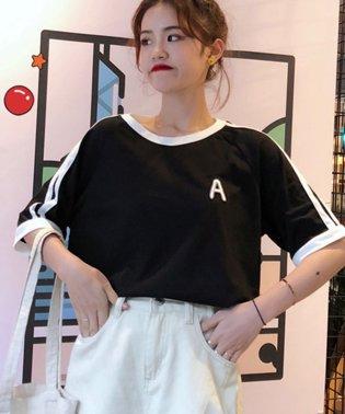 大人気のラインBIGシルエットTシャツ◎胸部分の刺繍がポイント♪ライン刺繍Tシャツ/トップス/Tシャツ/ライン/韓国ファッション/BIGシルエット/オーバーサイ