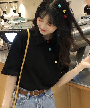 アシメに付いたカラフルボタンが可愛い◎一枚でお洒落に着れるポロシャツ♪/トップス/カットソー/夏/ポロシャツ/韓国ファッションシャツ Tシャツ