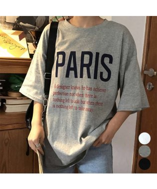 Tシャツ レディーストップス カットソー 半袖 体型カバー 韓国風 英字ロゴ ゆったり カジュア 即納