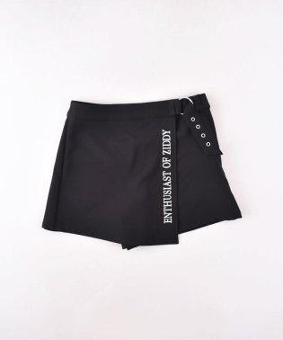 ストレッチポリエステルツイルベルト風スカートパンツ