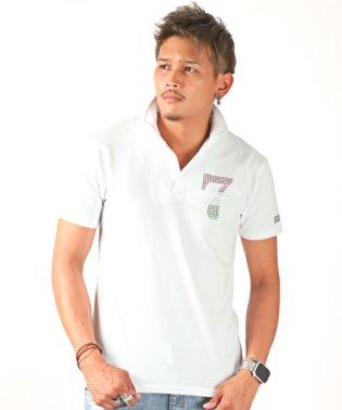 トリコロールラインストーンナンバリングイタリアンカラー半袖スキッパーポロシャツ/ポロシャツ メンズ 半袖 イタリアンカラー ラインストーン