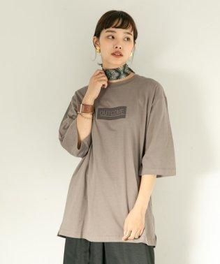 フロッキープリントビッグTシャツ(7分袖)