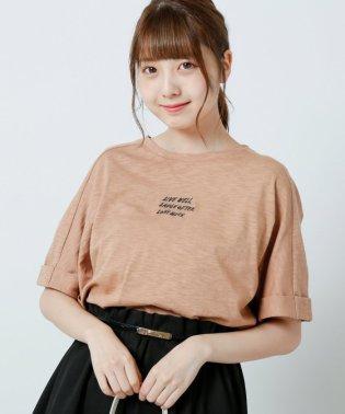 スラブ天竺ロゴ刺繍Tシャツ