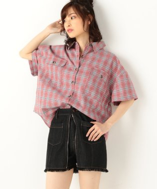 A-半袖短丈チェックシャツ